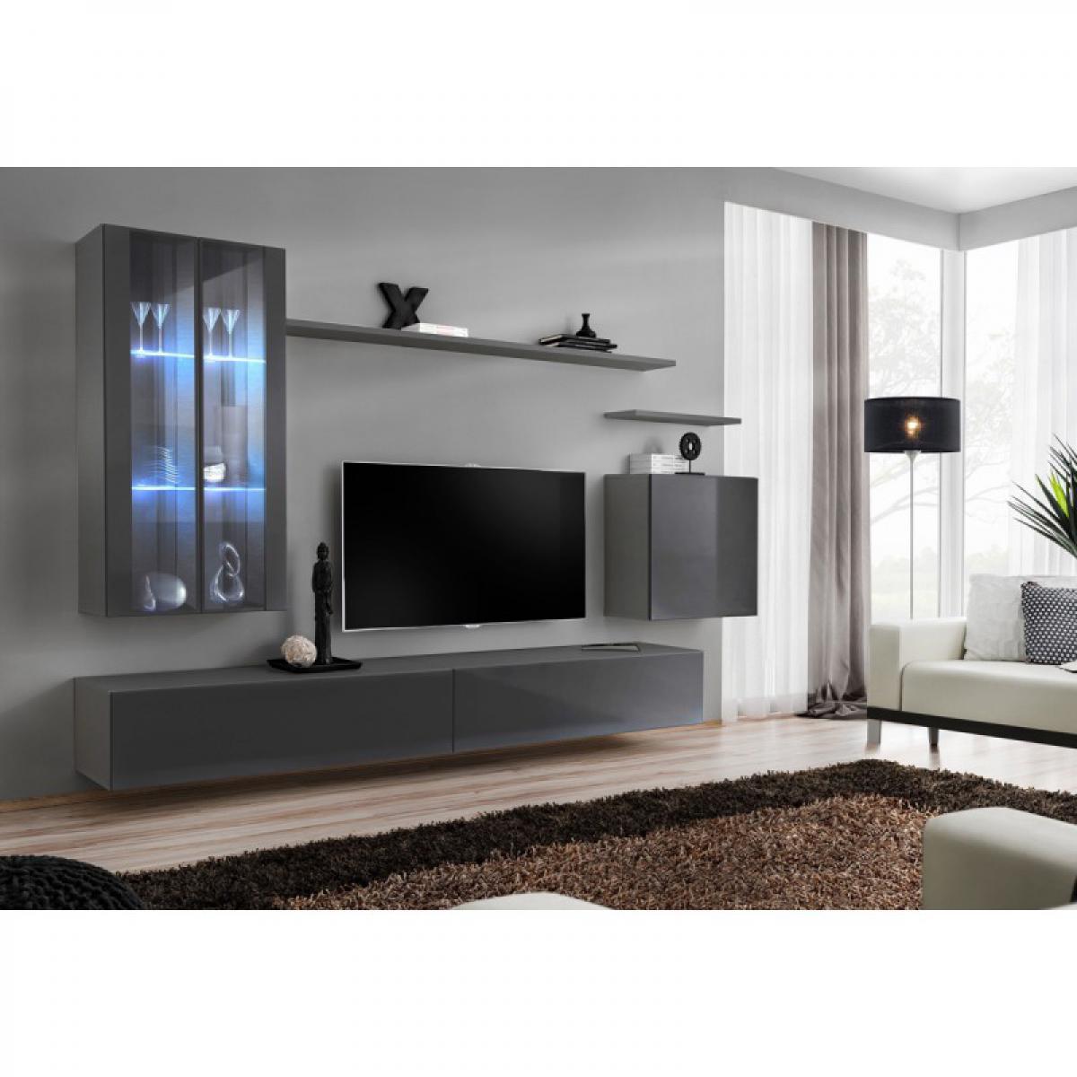 Ac-Deco Meuble TV Mural Design Switch XII 270cm Gris