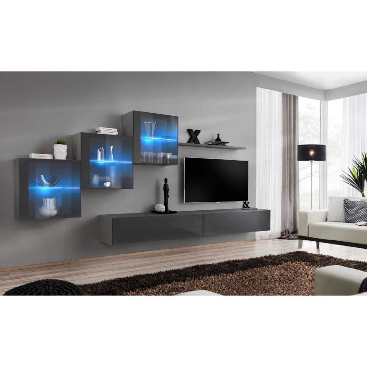Ac-Deco Meuble TV Mural Design Switch XX 330cm Gris
