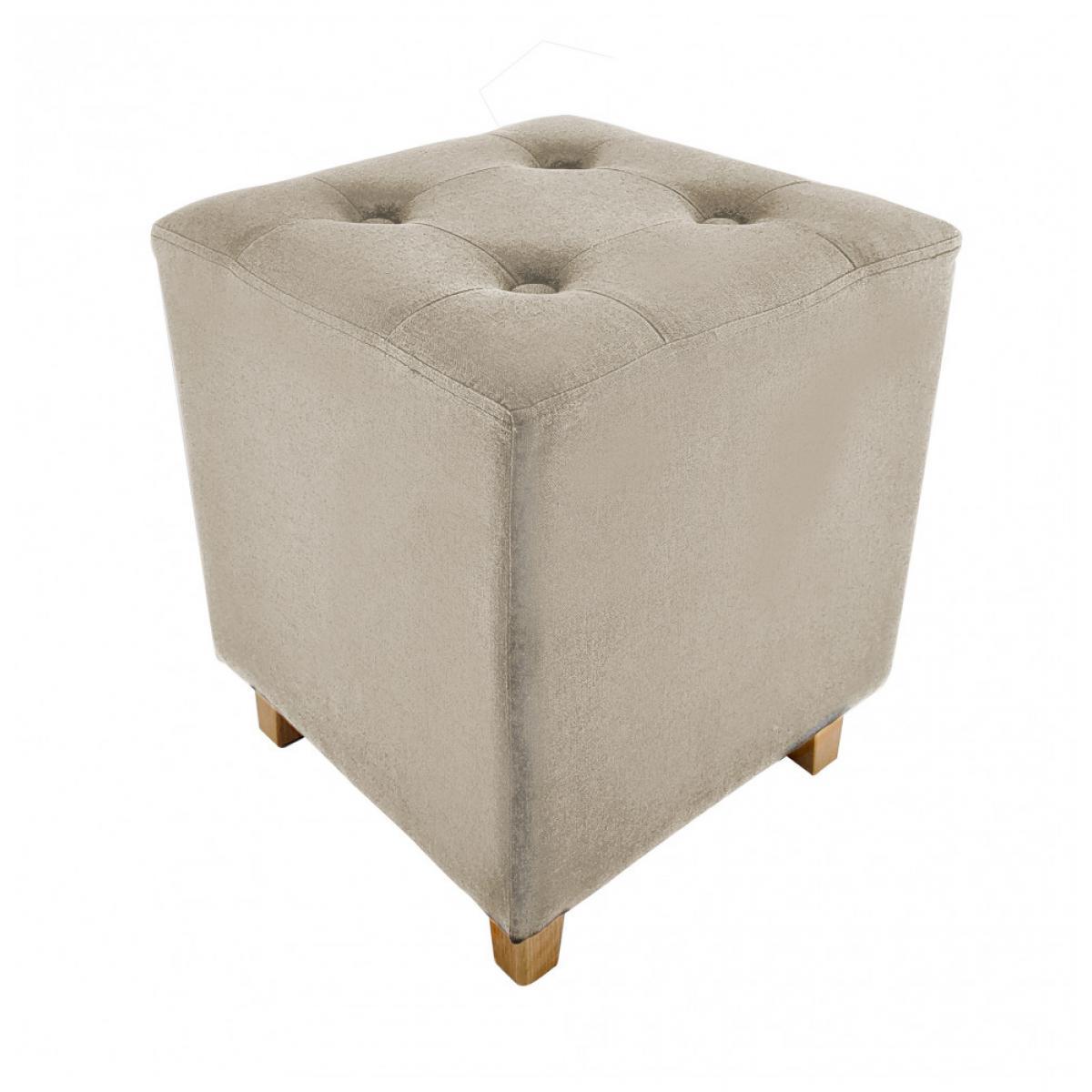 Ac-Deco Pouf carré - Hyppolyte - 35 x 35 cm - Beige