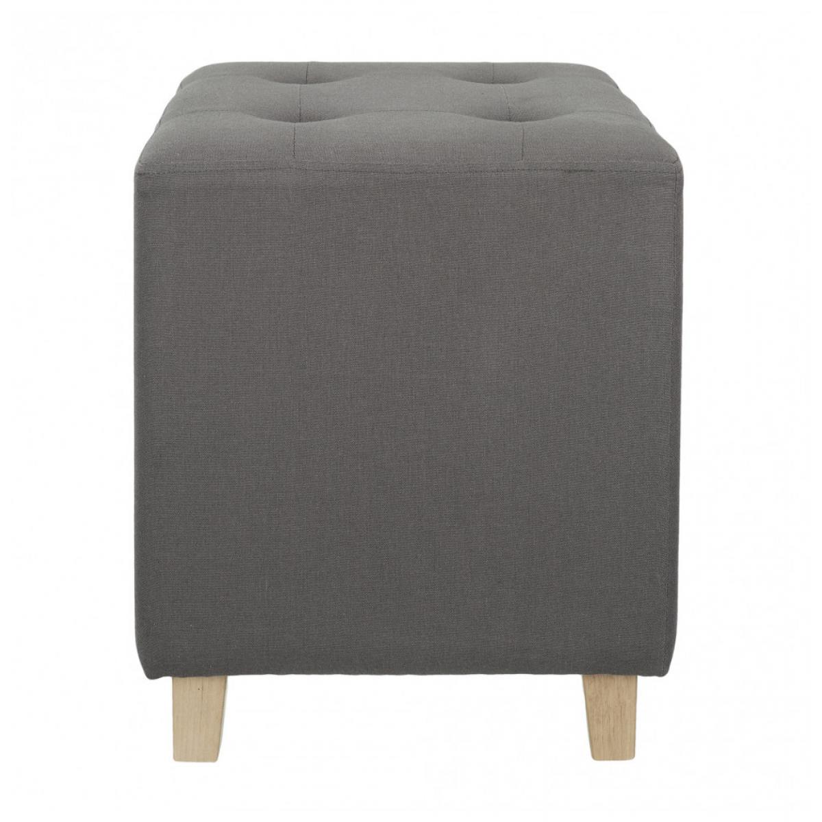 Ac-Deco Pouf carré - Hyppolyte - 35 x 35 cm - Gris