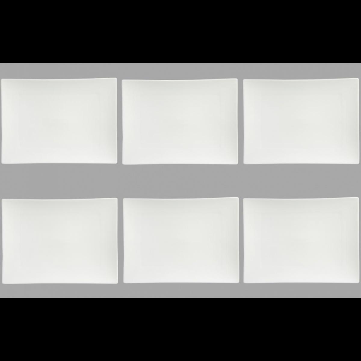Ac-Deco Set de 6 assiettes plates rectangulaire - 32 x 24 cm - Porcelaine