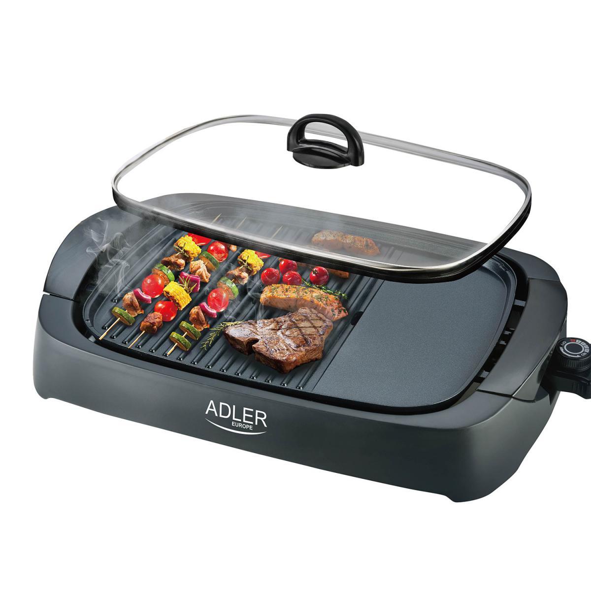 Adler Grill électrique Adler 3000W - Couvercle en verre - 2 zones de cuisson + Spatule