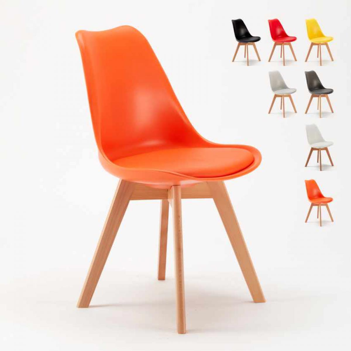 Ahd Amazing Home Design Chaise avec Coussin Scandinave NordicaTulip Bar et Salle à Manger, Couleur: Orange