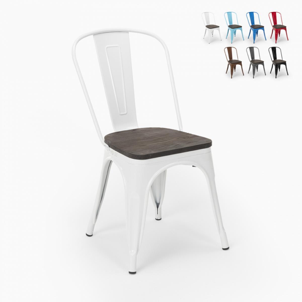 Ahd Amazing Home Design Chaises industrielles en bois et acier Tolix pour cuisine et bar Steel Wood, Couleur: Blanc