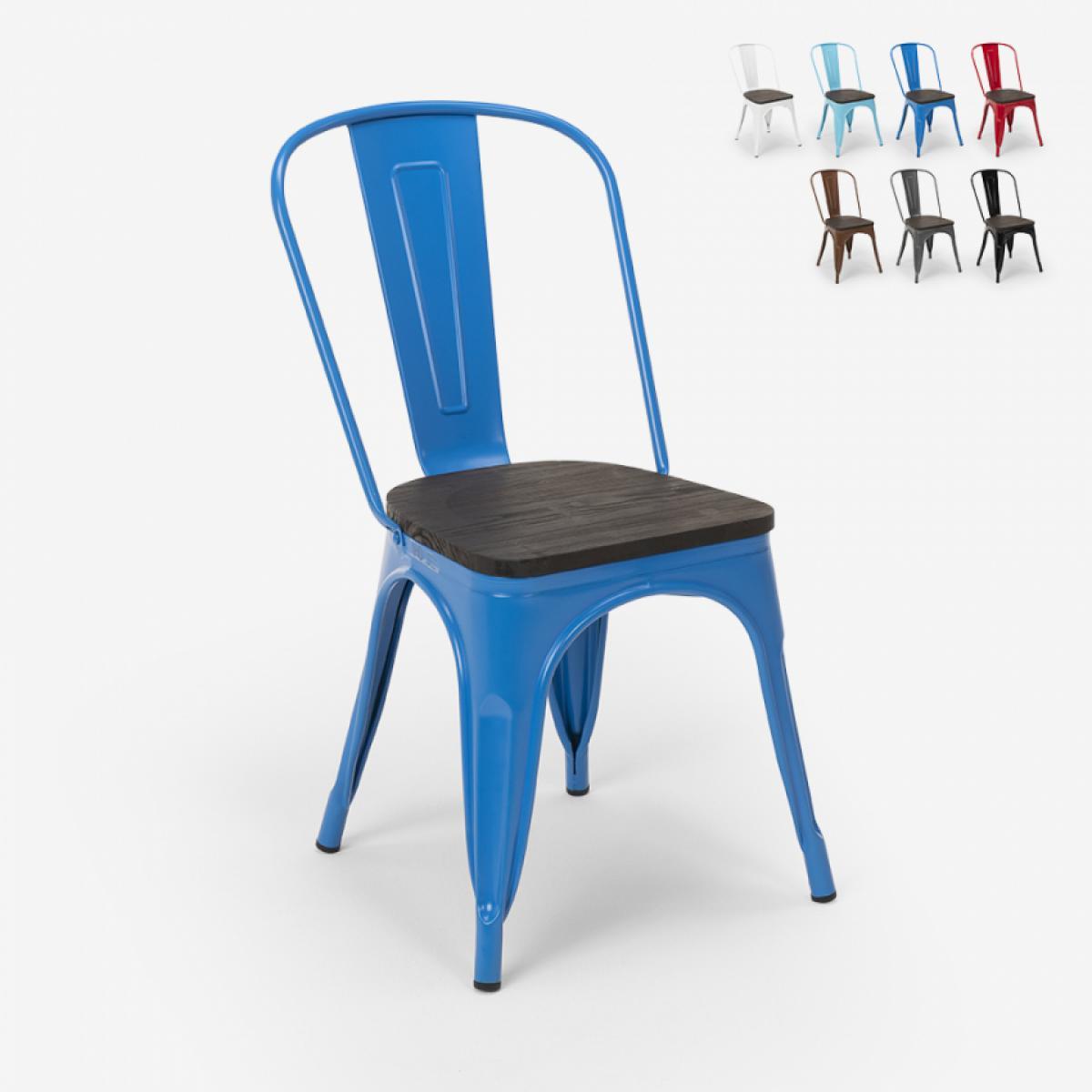 Ahd Amazing Home Design Chaises industrielles en bois et acier Tolix pour cuisine et bar Steel Wood, Couleur: Bleu