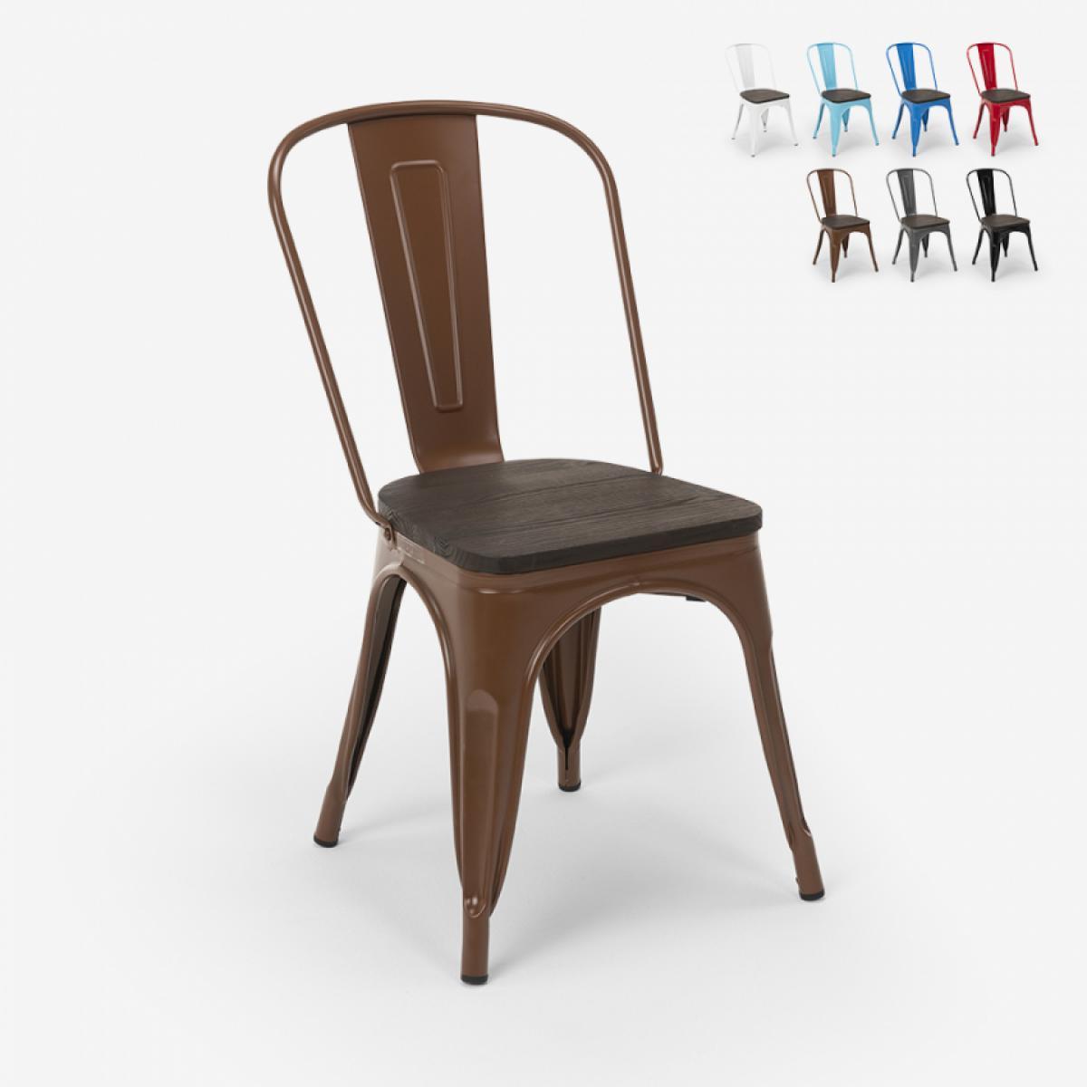 Ahd Amazing Home Design Chaises industrielles en bois et acier Tolix pour cuisine et bar Steel Wood, Couleur: Marron