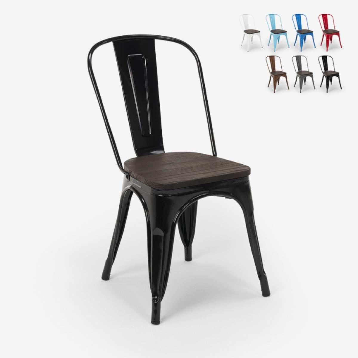 Ahd Amazing Home Design Chaises industrielles en bois et acier Tolix pour cuisine et bar Steel Wood, Couleur: Noir