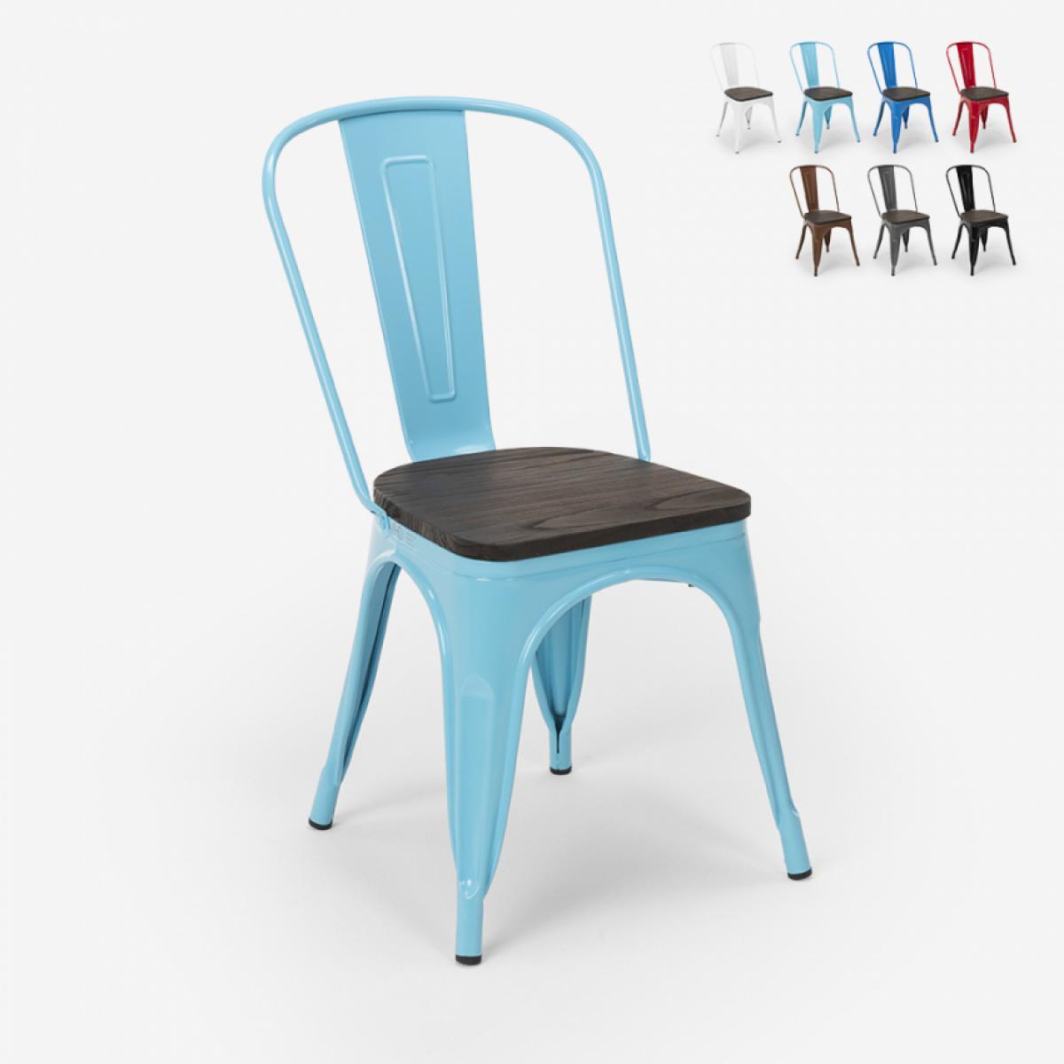 Ahd Amazing Home Design Chaises industrielles en bois et acier Tolix pour cuisine et bar Steel Wood, Couleur: Turquoise