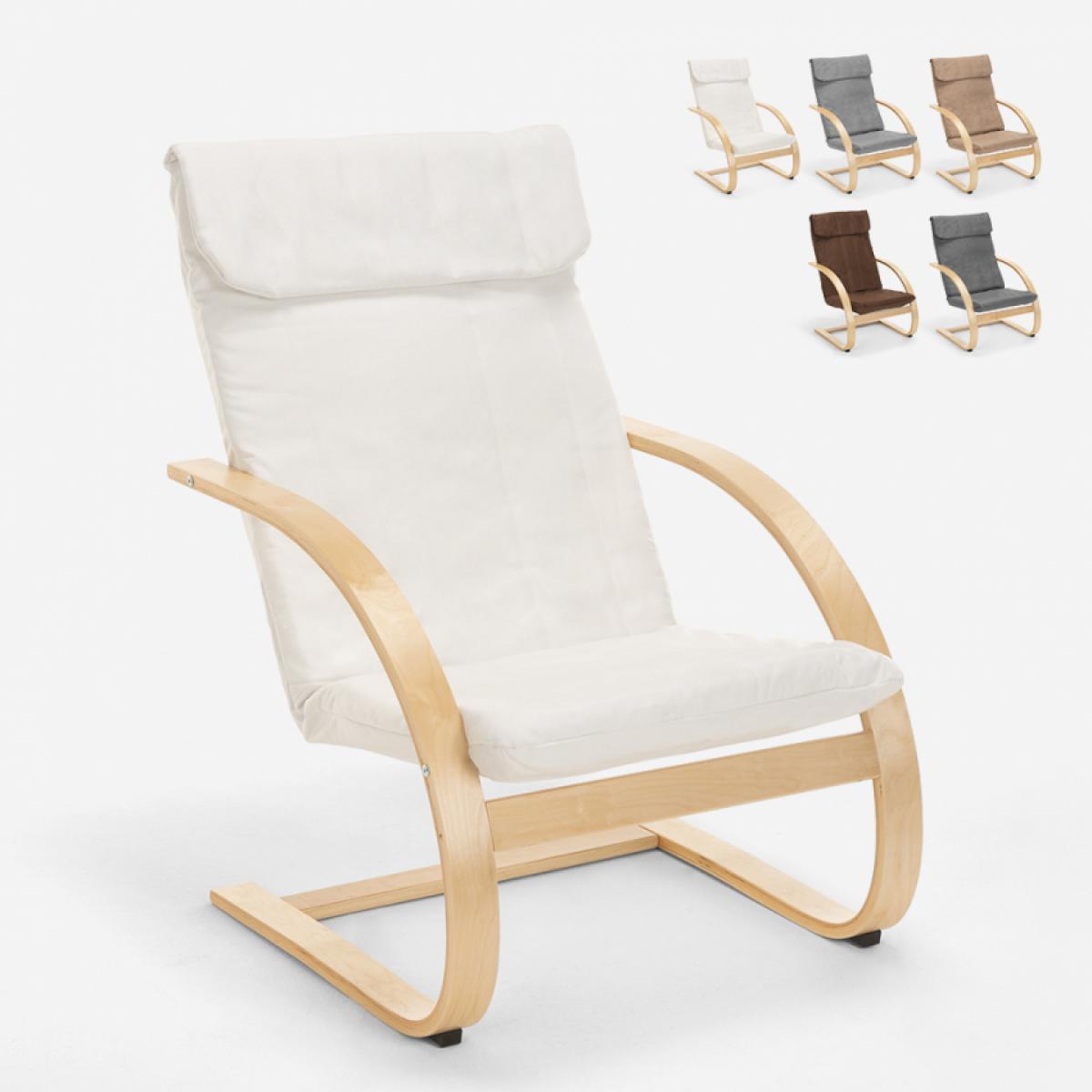 Ahd Amazing Home Design Fauteuil de salon et de bureau ergonomique en bois design nordique Aarhus, Couleur: Blanc