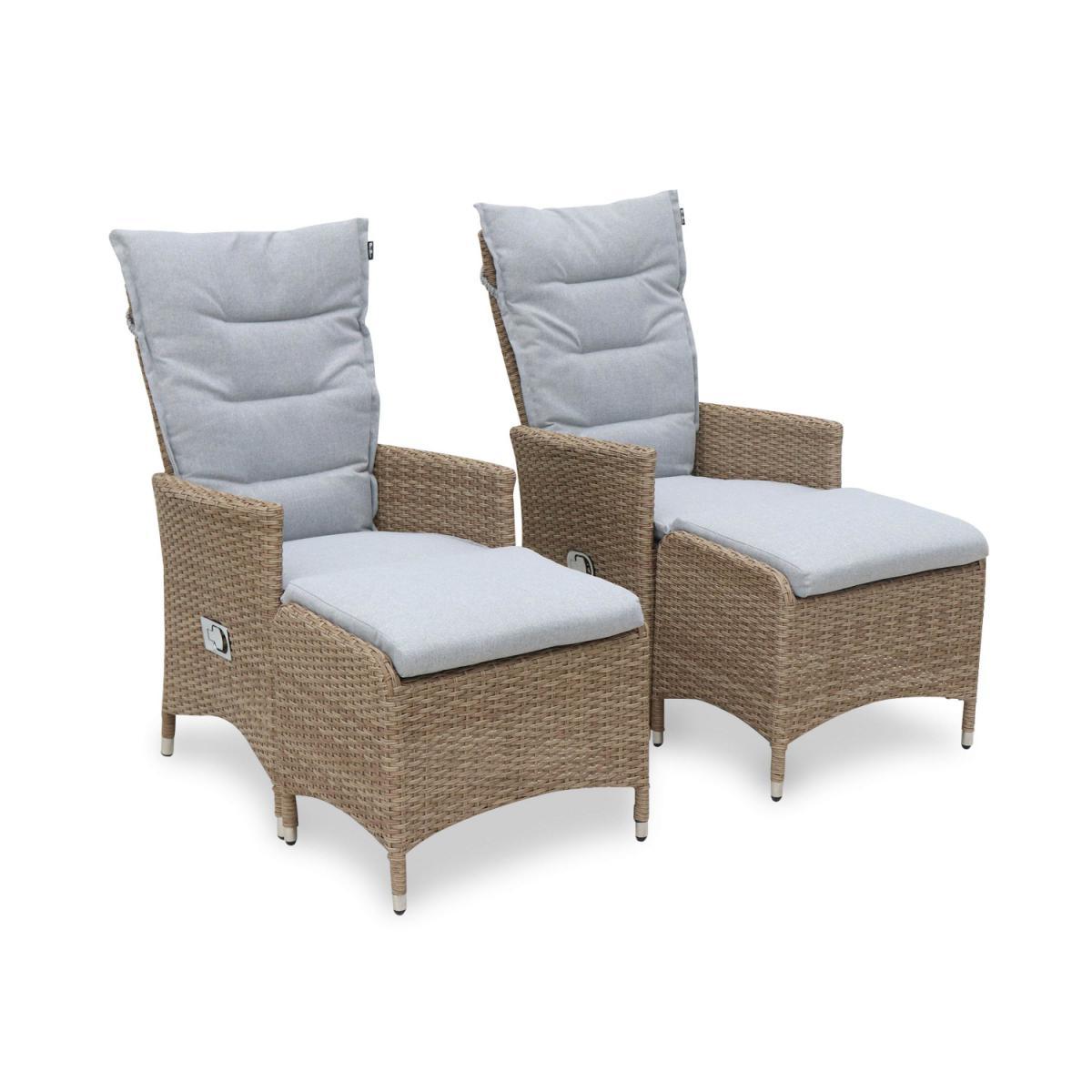 Alice'S Garden 2 fauteuils de jardin en résine beige avec repose-pieds et coussins gris clair ? CAPRI - fauteuil inclinable
