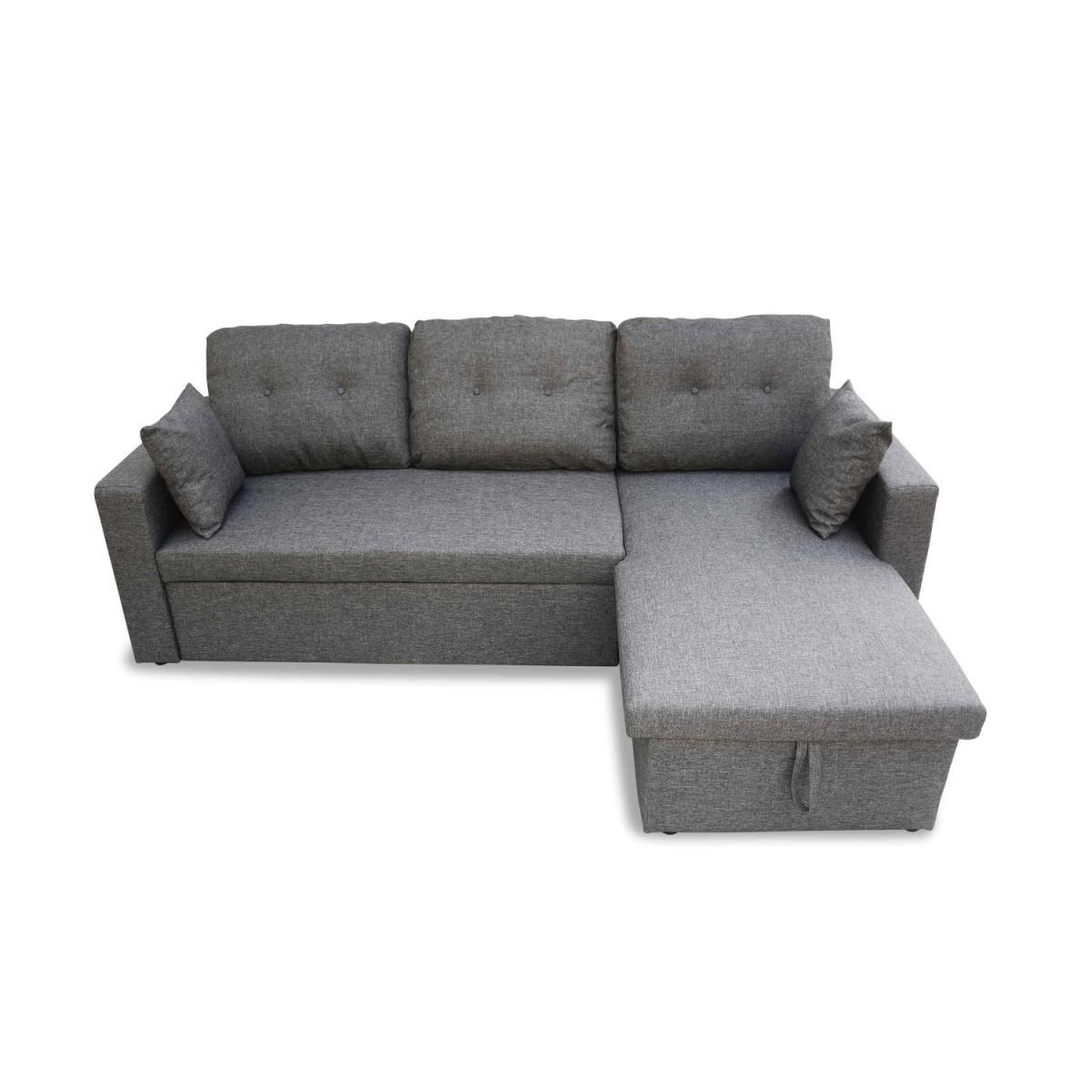 Alice'S Garden Canapé d'angle convertible en tissu gris chiné foncé - IDA - 3 places, fauteuil d'angle réversible coffre rangement lit