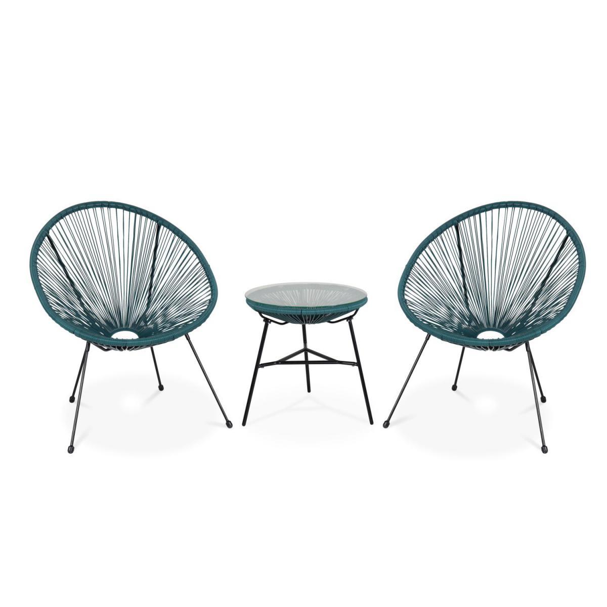 Alice'S Garden Lot de 2 fauteuils ACAPULCO forme d'oeuf avec table d'appoint - bleu canard - Fauteuils design rétro