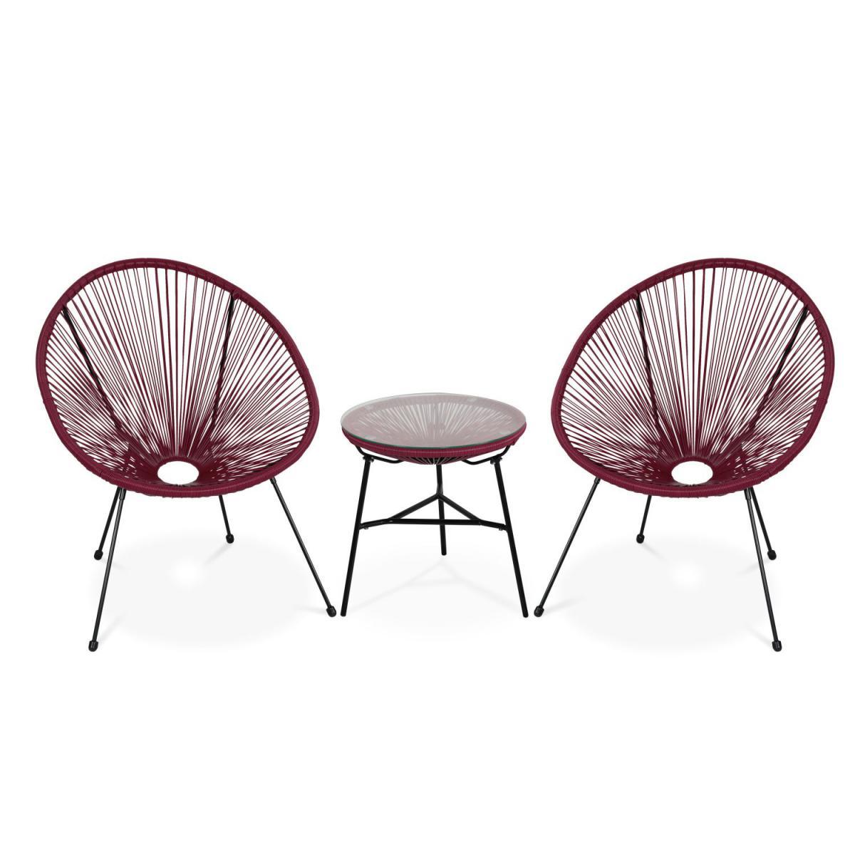 Alice'S Garden Lot de 2 fauteuils ACAPULCO forme d'oeuf avec table d'appoint - bordeaux - Fauteuils design rétro