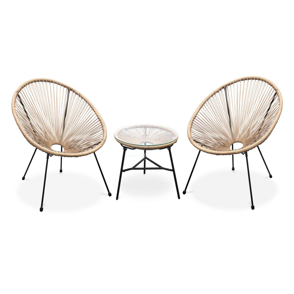 Alice'S Garden Lot de 2 fauteuils ACAPULCO forme d'oeuf avec table d'appoint - Naturel - Fauteuils design rétro