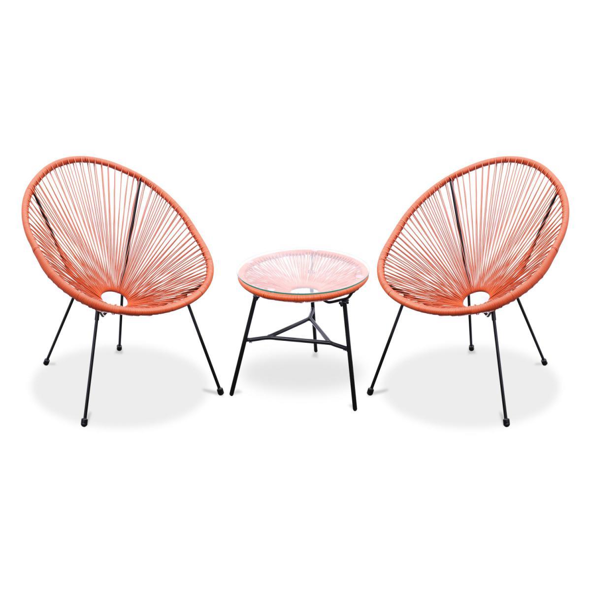 Alice'S Garden Lot de 2 fauteuils ACAPULCO forme d'oeuf avec table d'appoint - Terra Cotta - Fauteuils design rétro