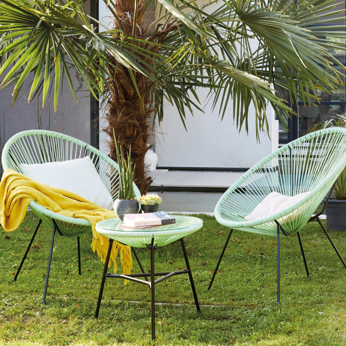 Alice'S Garden Lot de 2 fauteuils ACAPULCO forme d'oeuf avec table d'appoint - Vert d'eau - Fauteuils design rétro