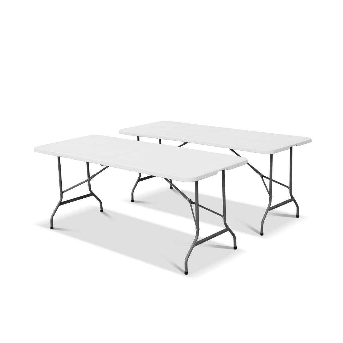 Alice'S Garden Lot de 2 tables de réception pliable en plastique blanc 180cm