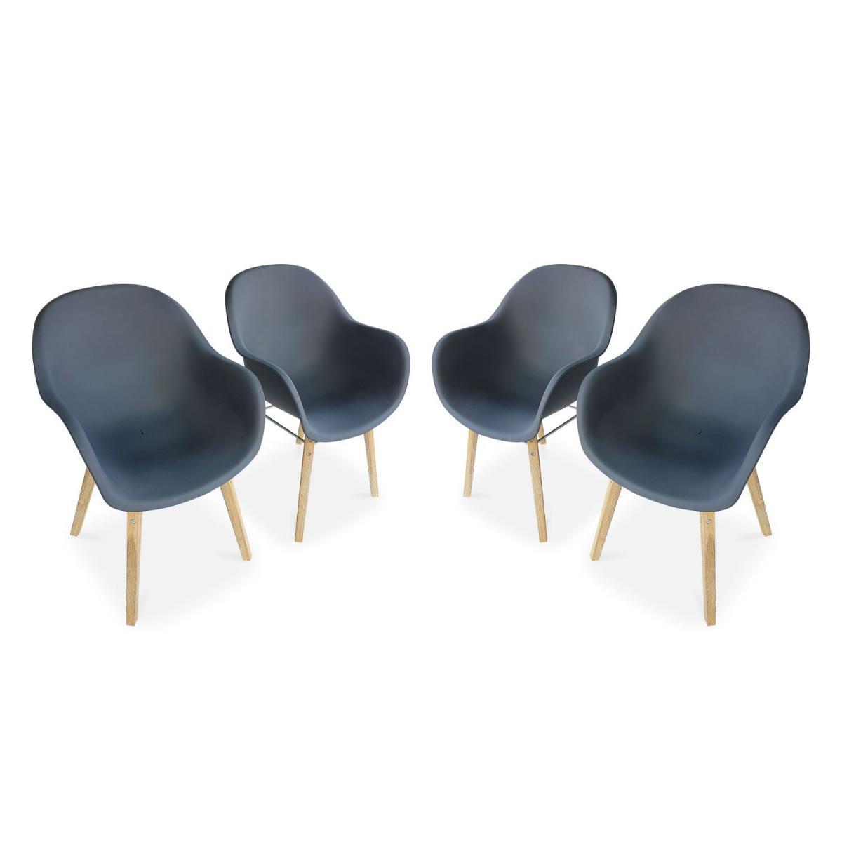 Alice'S Garden Lot de 4 fauteuils scandinaves CELEBES, acacia et résine injectée, gris, Intérieur/extérieur