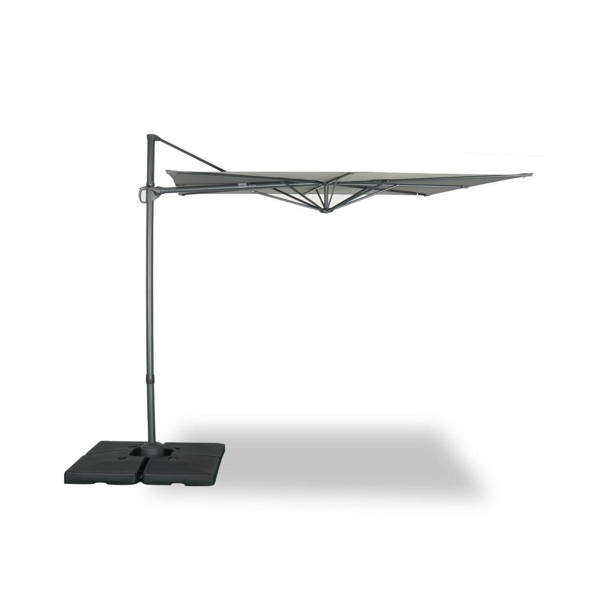 Alice'S Garden Parasol déporté carré 250 x 250 cm ? Deauville ? gris ? parasol exporté, inclinable, rabattable et rotatif à 360°