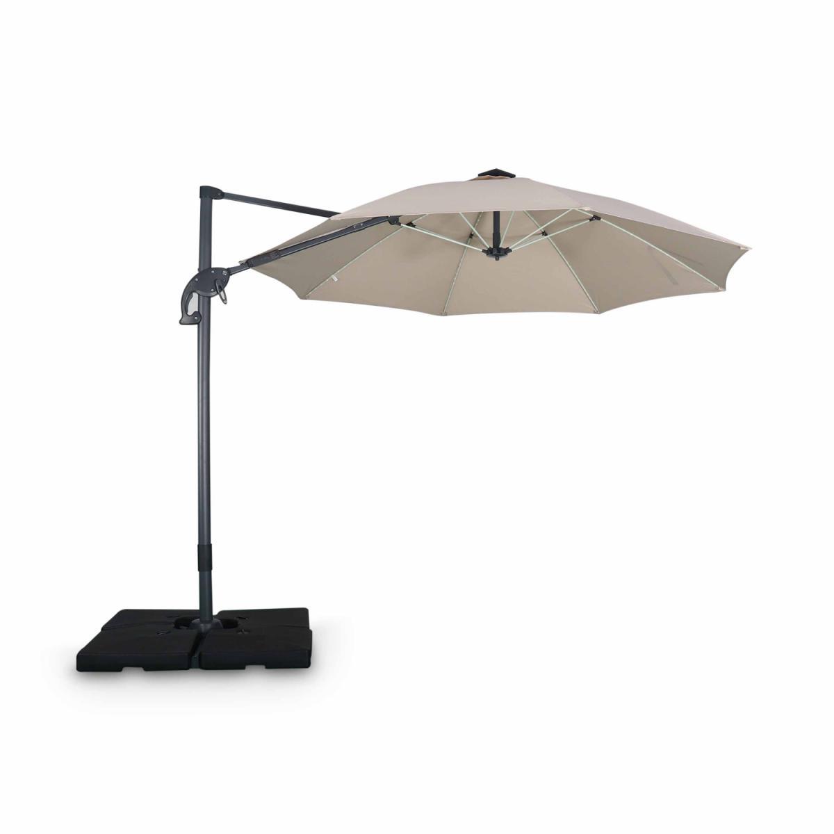 Alice'S Garden Parasol led déporté rond Ø300 cm ? Dinard ? Beige ? parasol exporté, inclinable, rabattable, baleines en fibre de verre