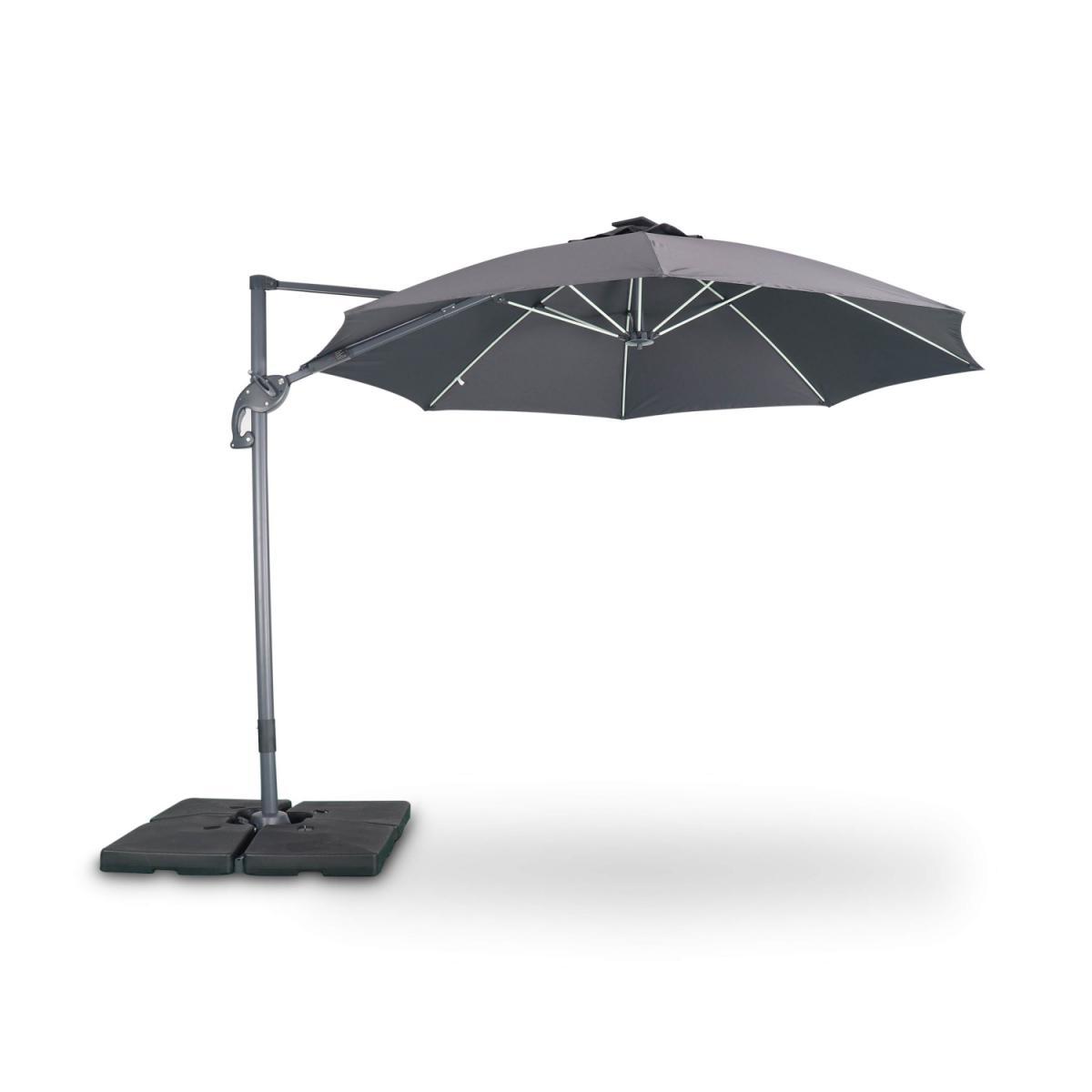 Alice'S Garden Parasol led déporté rond Ø300 cm ? Dinard ? gris ? parasol exporté, inclinable, rabattable, baleines en fibre de verre