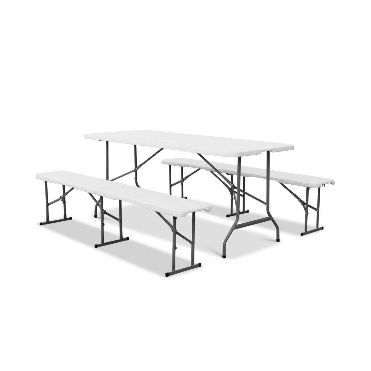 Alice'S Garden Set table de réception pliable et bancs en plastique blanc 180cm