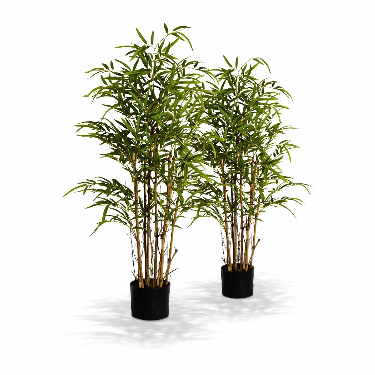 Alice'S Garden Lot de 2 plantes artificielles, bambou, intérieur, 1m, plastique, décorative, effet naturel