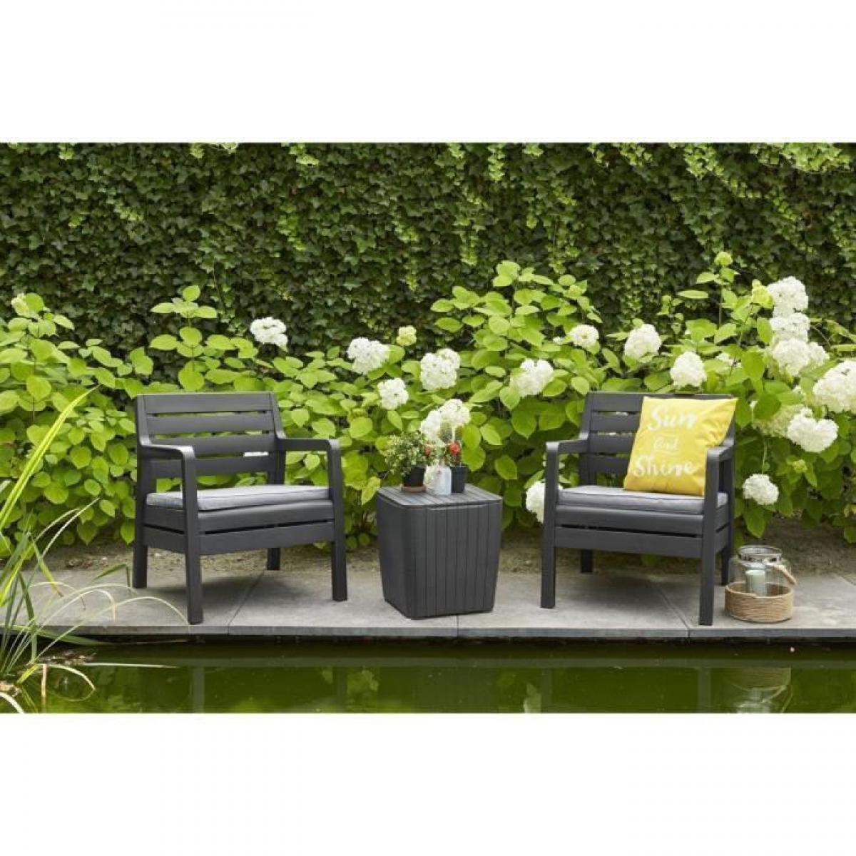 Allibert-Jardin DELANO Ensemble de balcon 2 places avec coussins assises - 2 fauteuils et une table basse - Imitation bois - Graphite