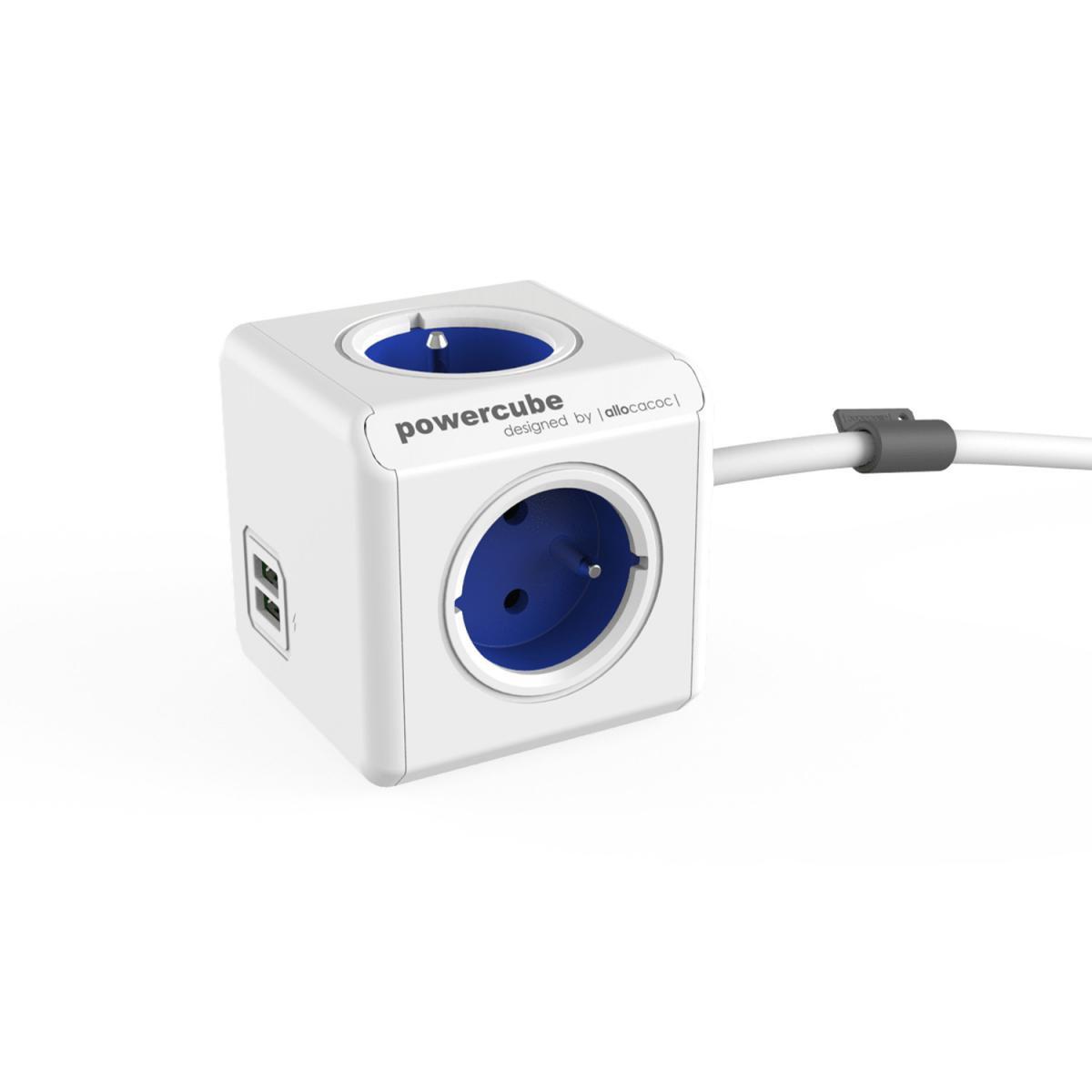 Allocacoc Câble d'extension PowerCube Extended, 4 prises, 2 x USB 1,5 m, bleu