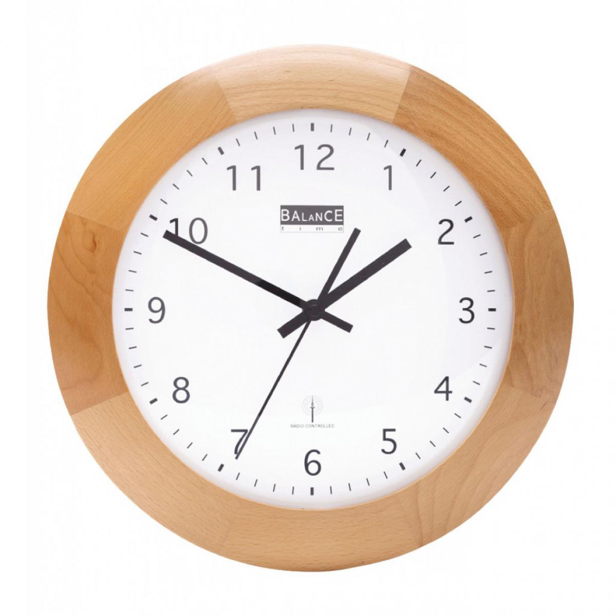 Alpexe Horloge murale Radio-contrôlée 32 cm Analogiques Marron/Blanc