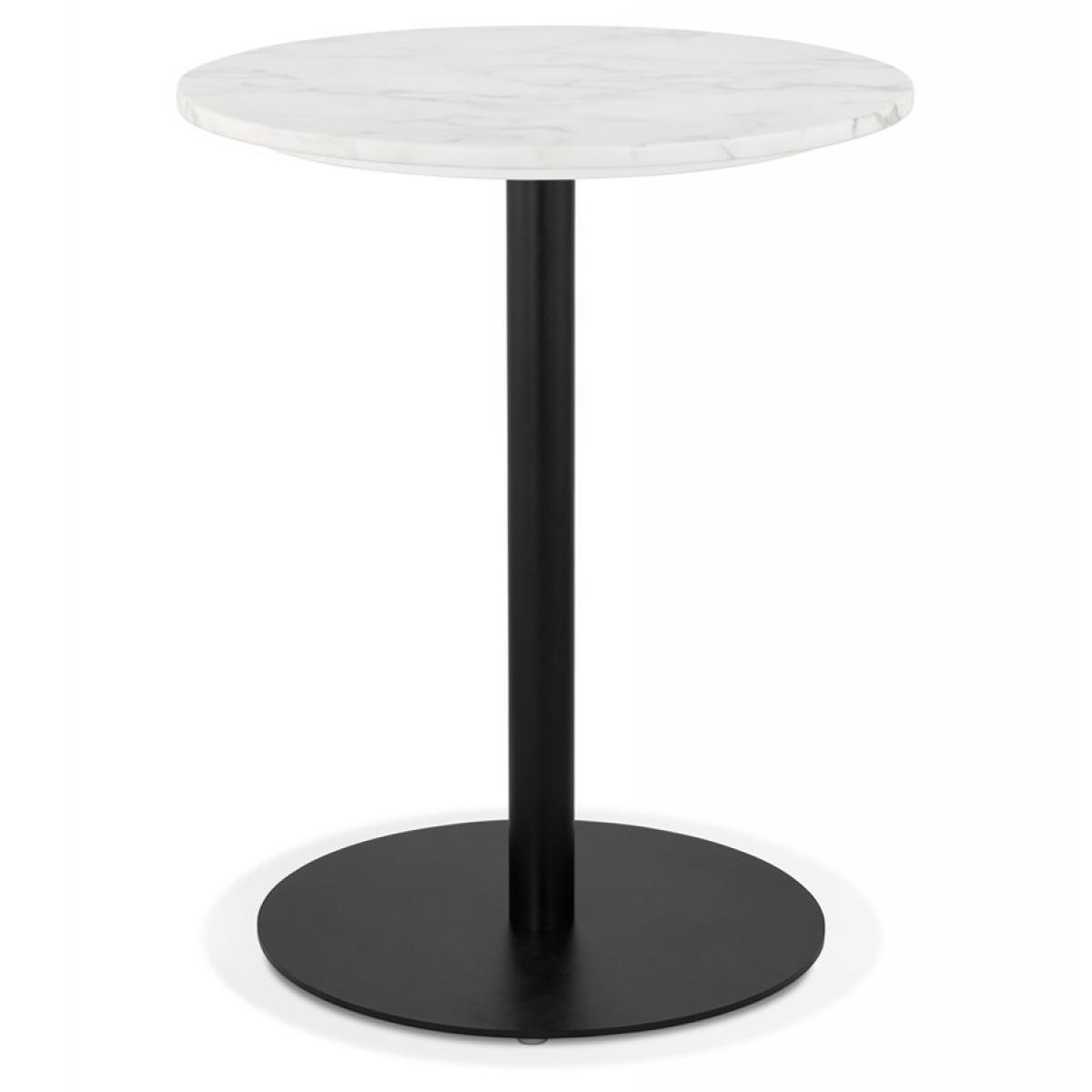 Alterego Petite table bistrot ronde 'TOMY' en pierre blanche effet marbre et métal noir - Ø 60 cm