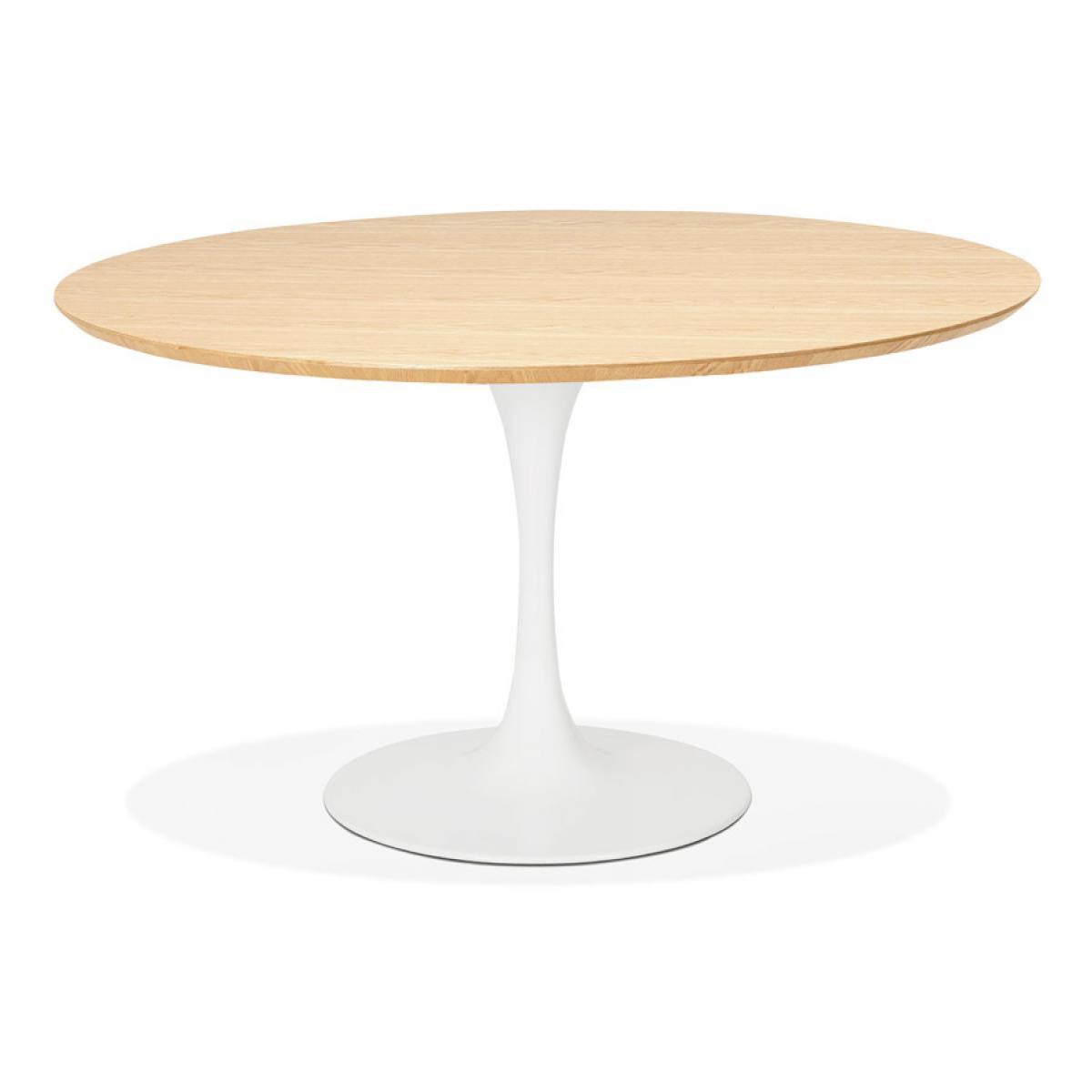 Alterego Table à dîner / de bureau ronde design 'GLOBO' en bois finition naturelle et pied central en métal blanc - Ø120 cm