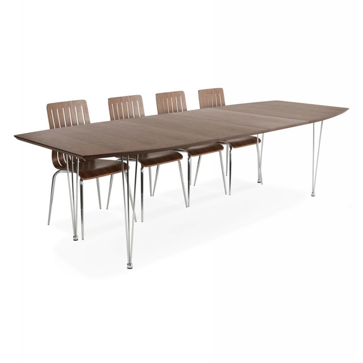 Alterego Table à dîner / de réunion extensible 'XTEND' finition Noyer - 170(270)x100 cm
