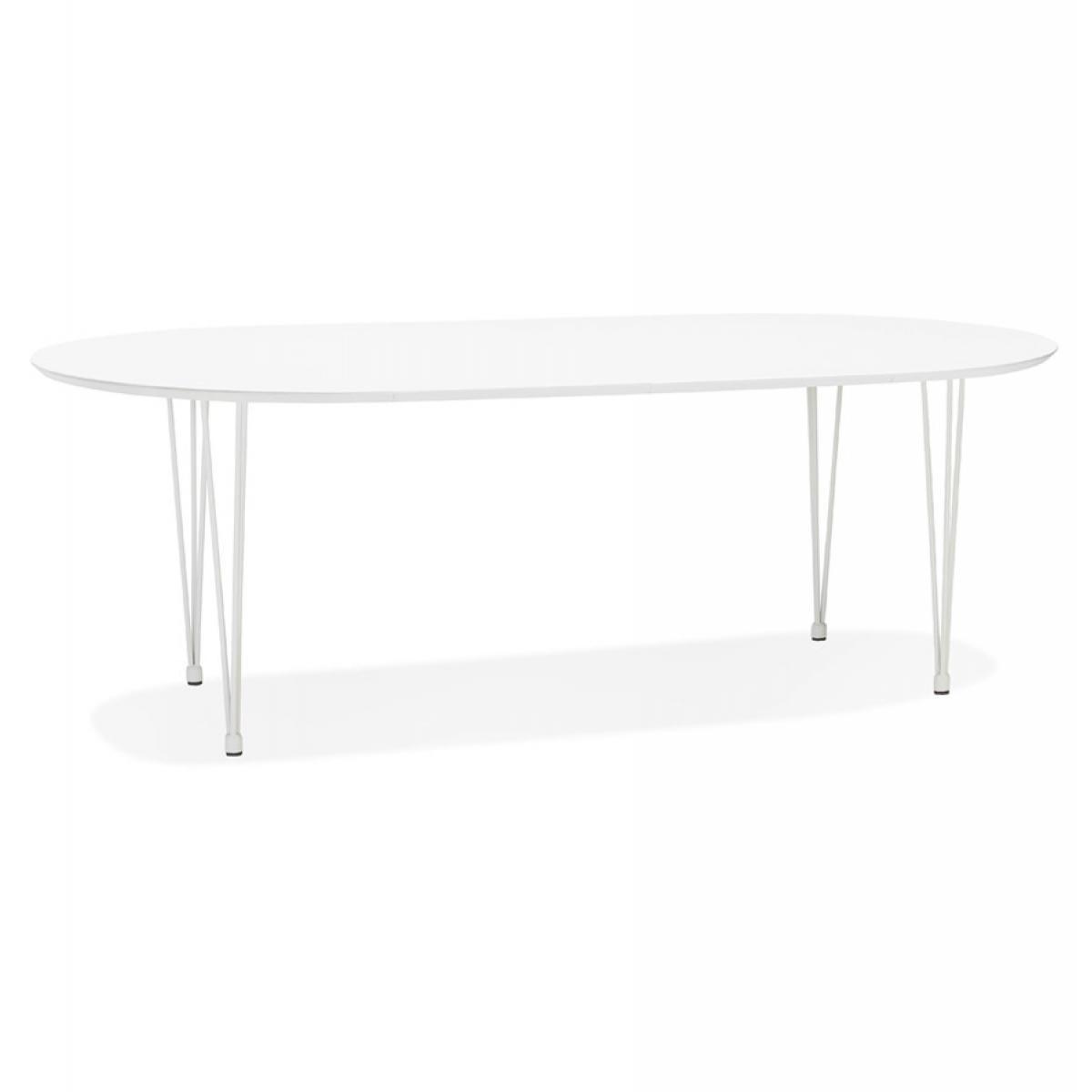 Alterego Table à dîner / de réunion ronde extensible 'CHAMONIX' blanche - 120(220)x120 cm