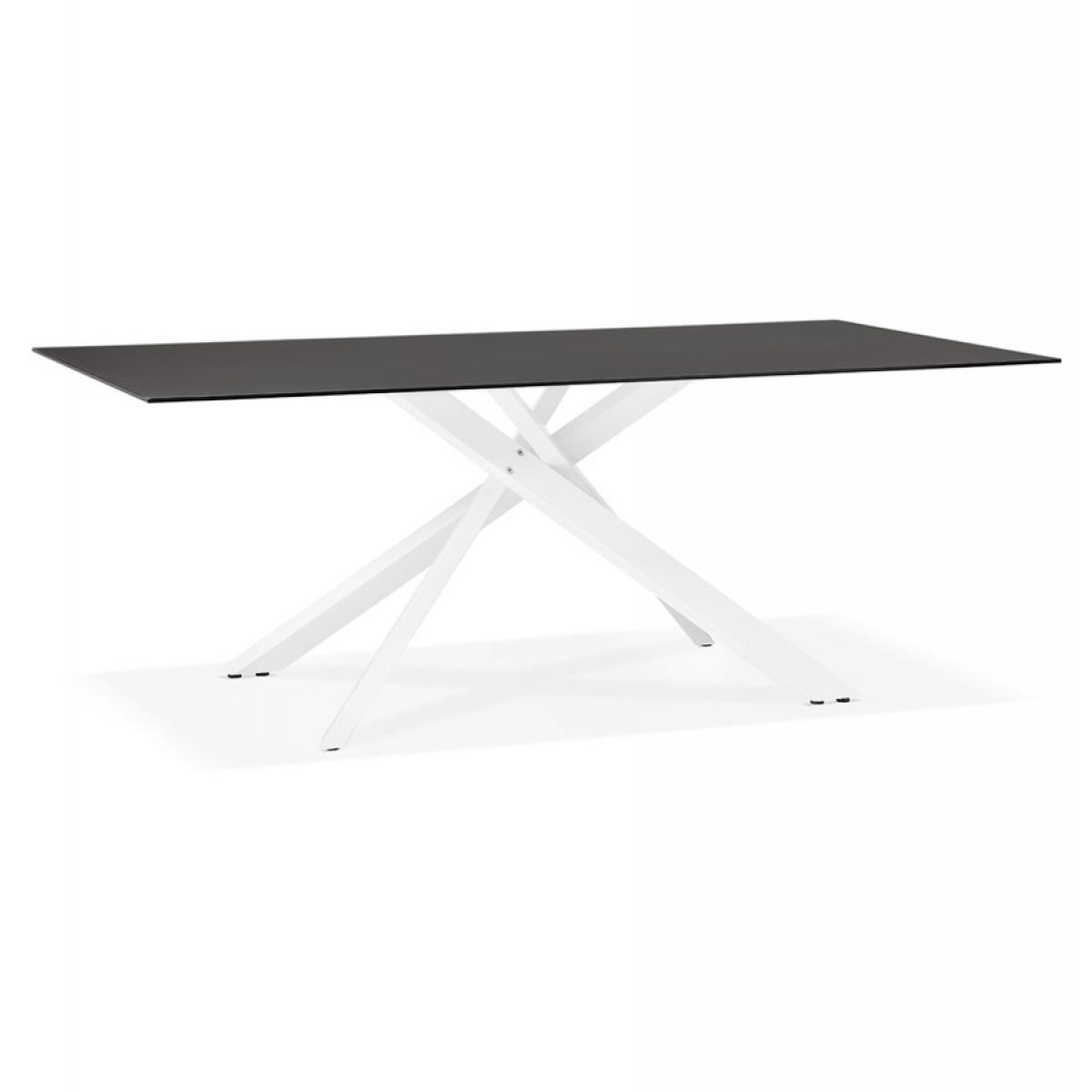 Alterego Table à diner design 'BIRDY' en verre noir avec pied central en x blanc - 200x100 cm