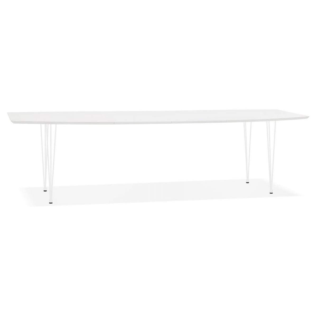 Alterego Table à dîner design extensible 'HUSKI' blanche avec pieds en métal blanc - 170(270)x100 cm