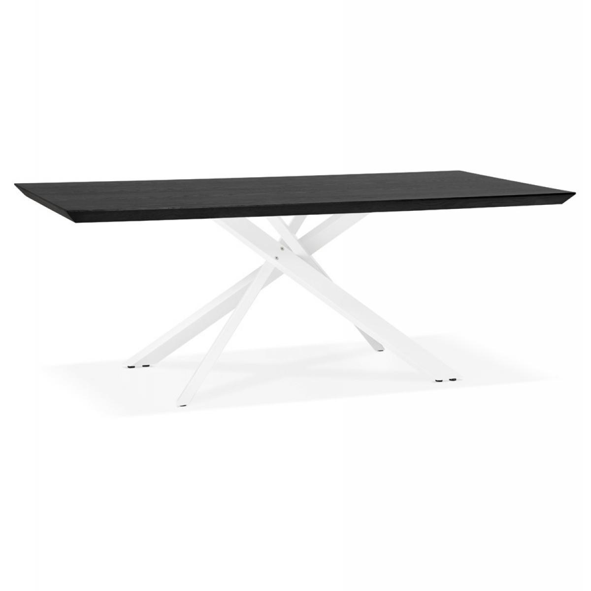 Alterego Table à diner design 'WALABY' en bois noir avec pied central en x blanc - 200x100 cm