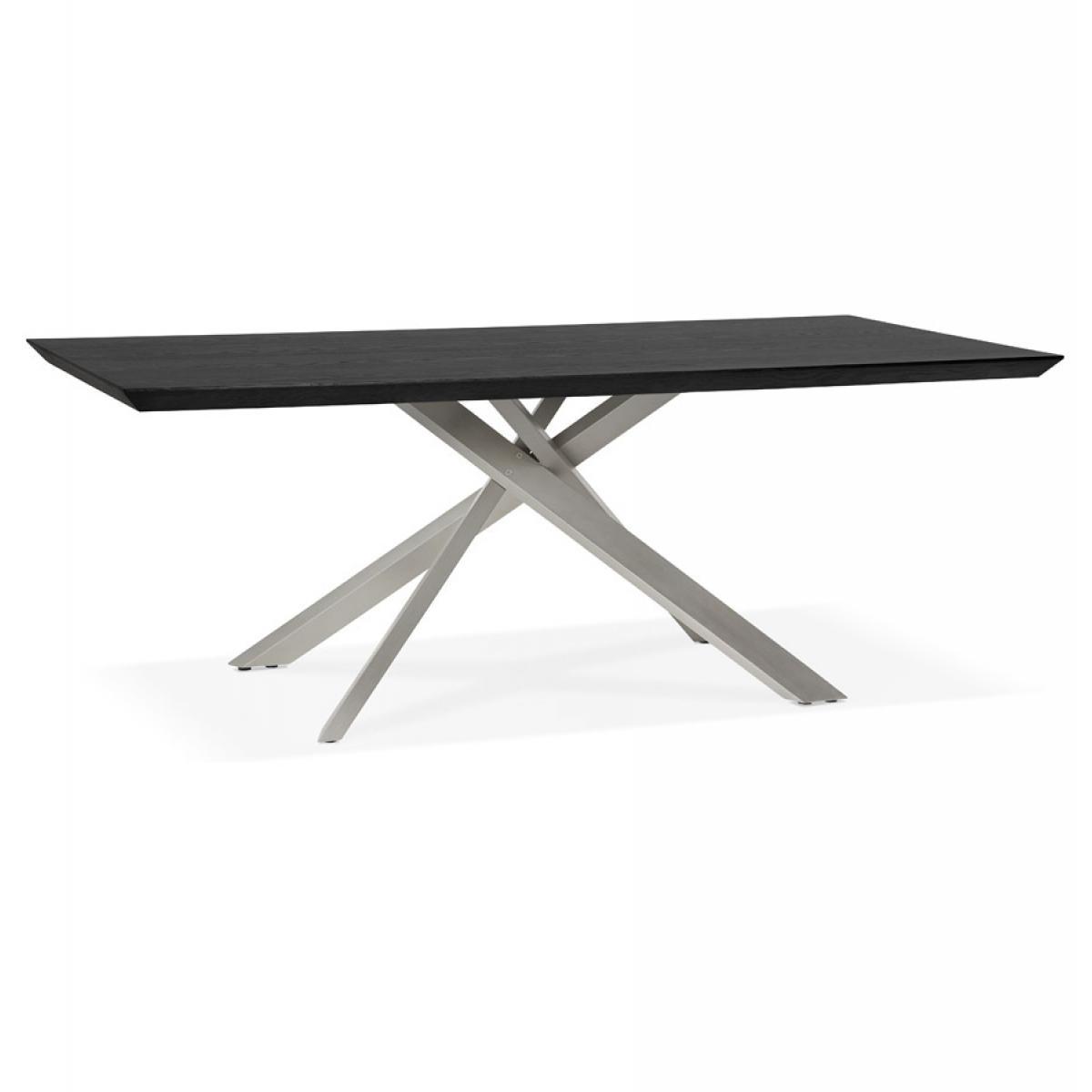 Alterego Table à manger design 'WALABY' en bois noir avec pied central en métal - 200x100 cm