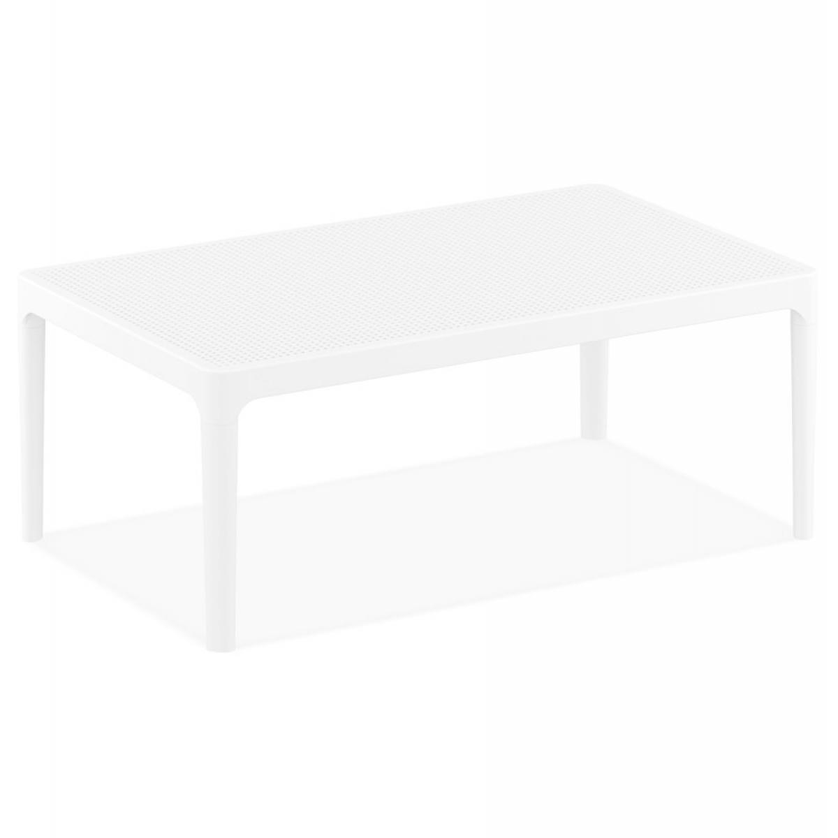 Alterego Table basse de jardin 'DOTY' blanche design - 100x60 cm