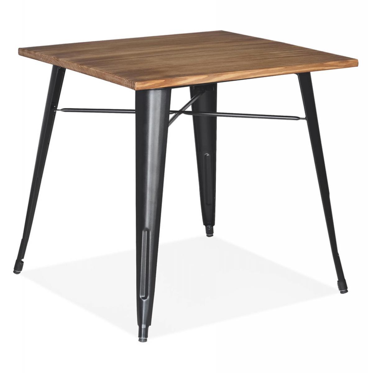 Alterego Table carrée style industriel 'MARCUS' en bois foncé et pieds en métal noir - 76x76 cm
