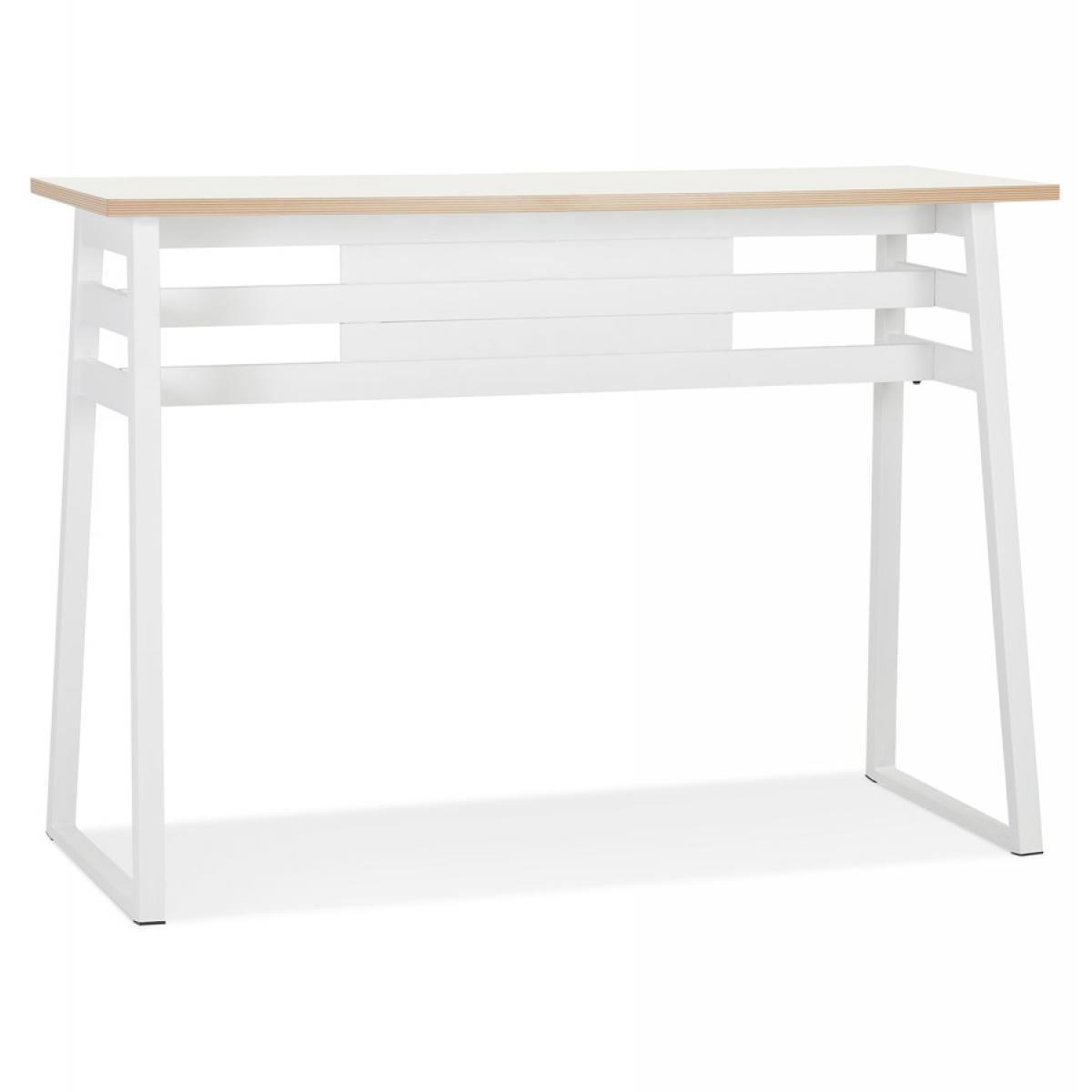 Alterego Table de bar haute 'NIKI' bois et métal blanc - 150x60 cm