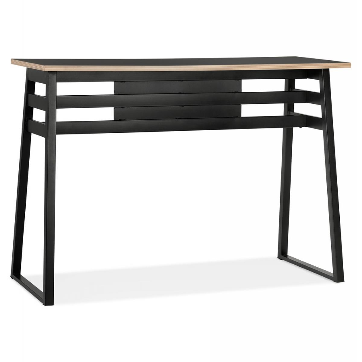 Alterego Table de bar haute 'NIKI' bois et métal noir - 150x60 cm
