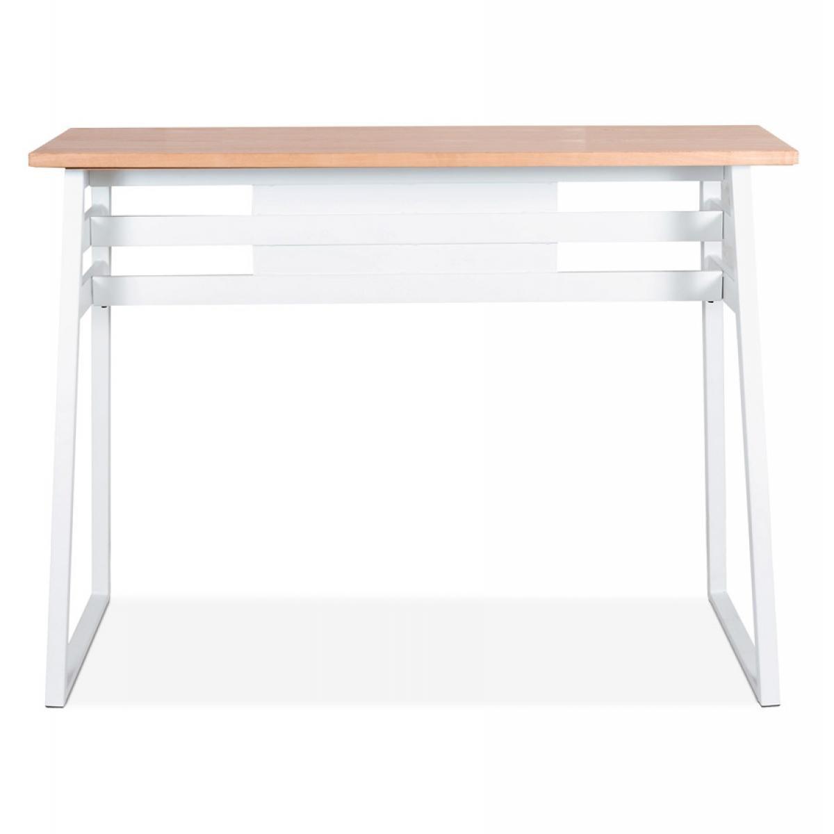 Alterego Table de bar haute 'NIKI' en bois finition naturelle et pied en métal blanc - 150x60 cm