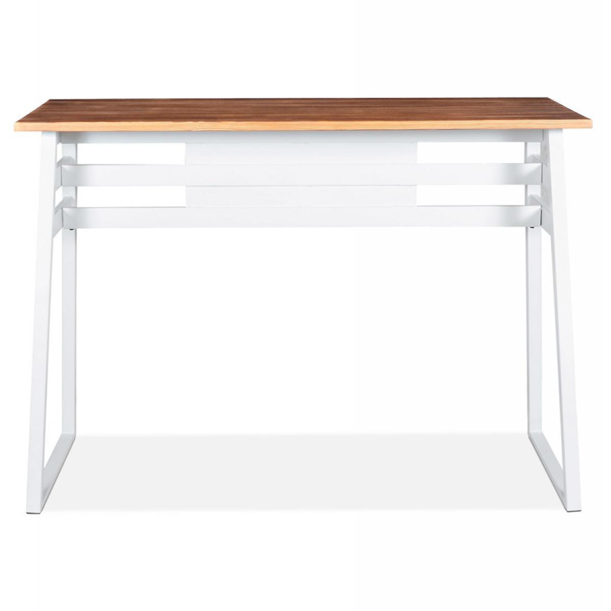 Alterego Table de bar haute 'NIKI' en bois massif et pied en métal blanc - 150x60 cm