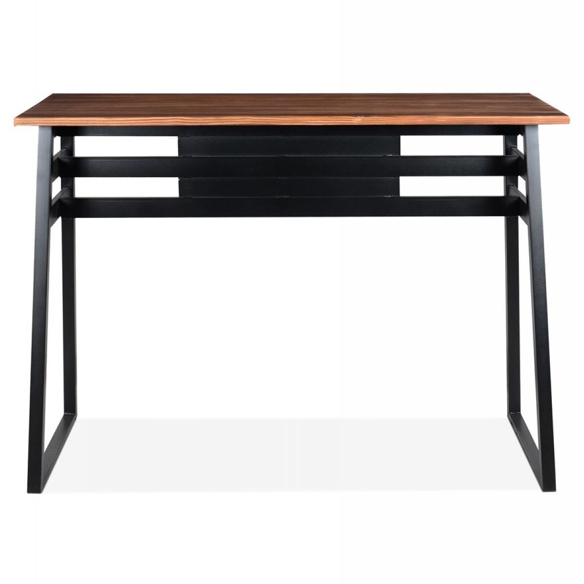 Alterego Table de bar haute 'NIKI' en bois massif et pied en métal noir - 150x60 cm