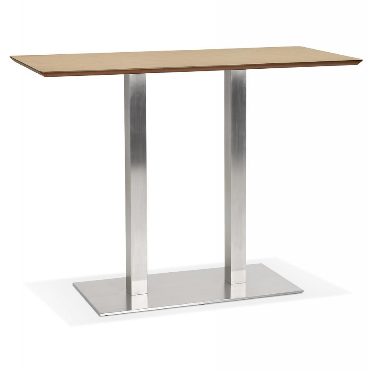 Alterego Table haute design 'MAMBO BAR' en bois finition naturelle avec pied en métal brossé - 150x70 cm