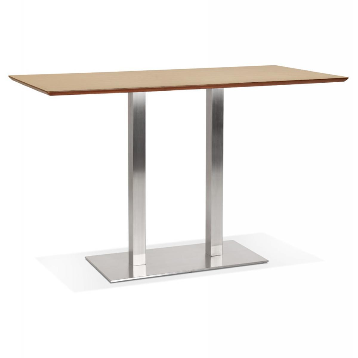 Alterego Table haute design 'MAMBO BAR' en bois finition naturelle avec pied en métal brossé - 180x90 cm