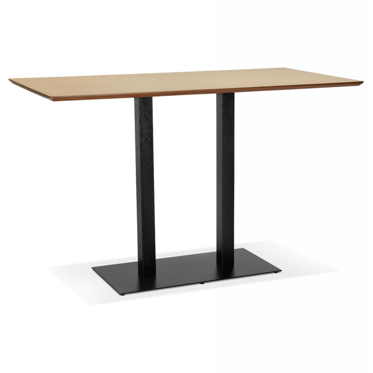 Alterego Table haute design 'ZUMBA BAR' en bois finition naturelle avec pied en métal noir - 180x90 cm