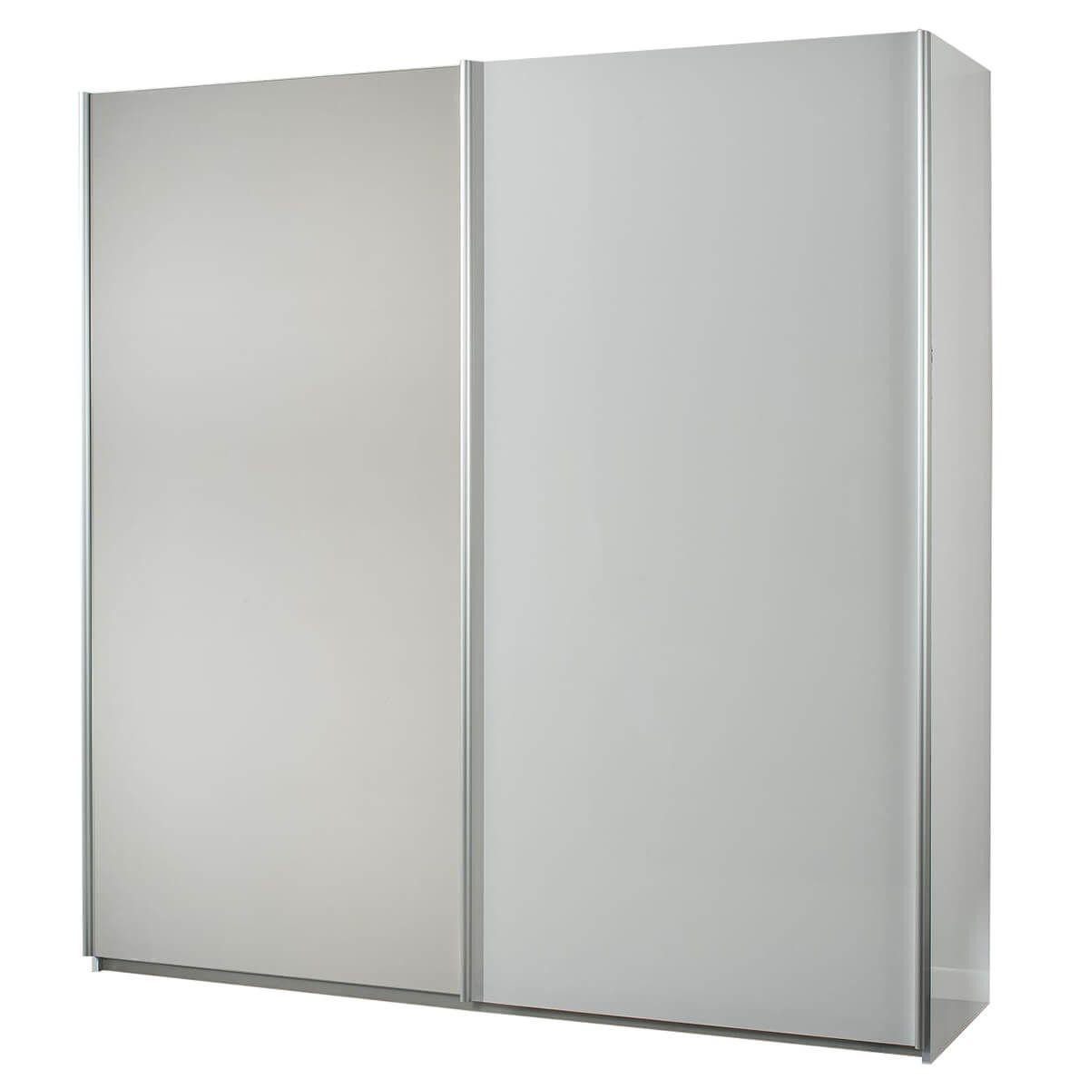 Altobuy IZIA BLANCHE - Armoire 2 Portes Coulissantes avec Miroir