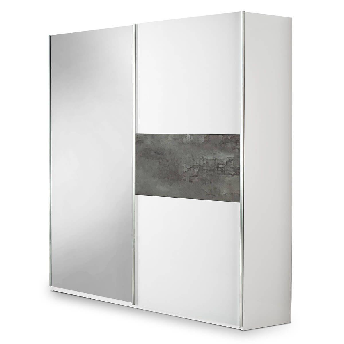 Altobuy IZIA GRISE - Armoire 2 Portes Coulissantes avec Miroir